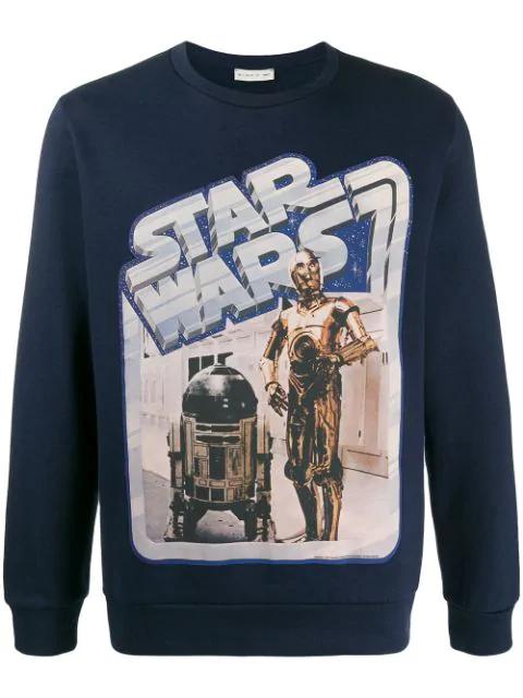 Etro X Star Wars Crew Neck Sweatshirt With Maxi Film Print In 200 Blue