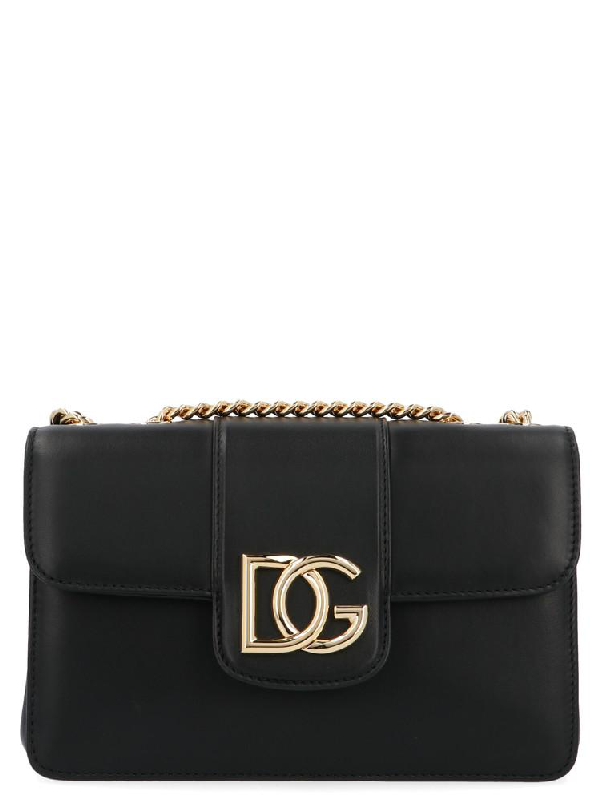 Dolce & Gabbana Dg Logo Plaque Shoulder Bag In Black