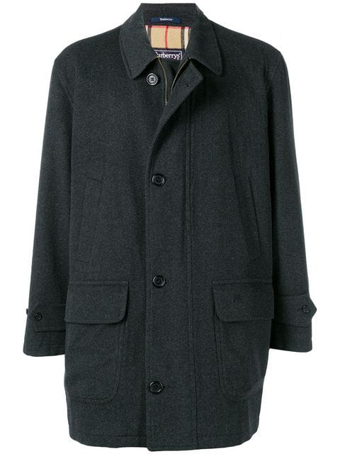 Burberry 1980's Zip And Button Coat In Grey