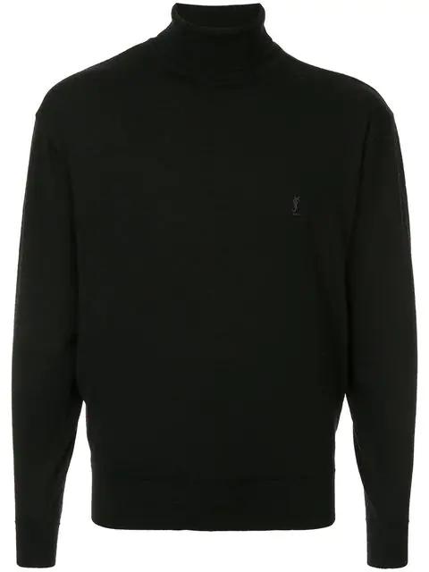 Saint Laurent Turtleneck Jumper In Black