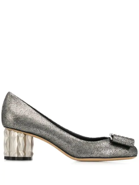 Salvatore Ferragamo Chunky Heel Pumps In Grey