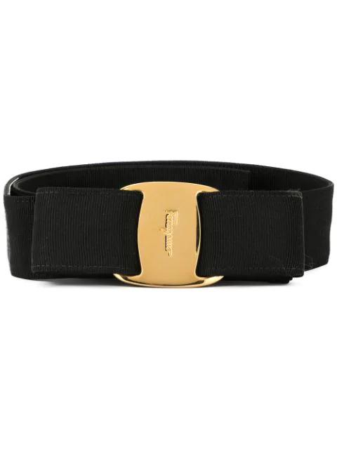 Salvatore Ferragamo Vara Bow Belt In Black