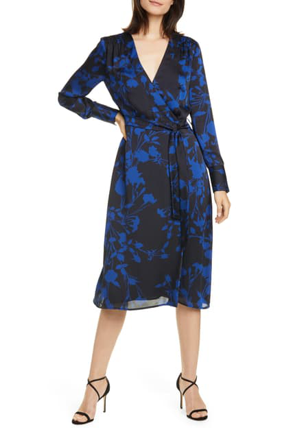 Equipment Cherylene Floral Long-sleeve Midi Wrap Dress In Deep Well Blue