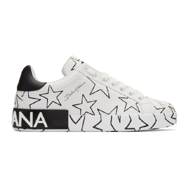 Dolce & Gabbana Mixed Star Print Portofino Sneakers In Nappa Leather In Stelle
