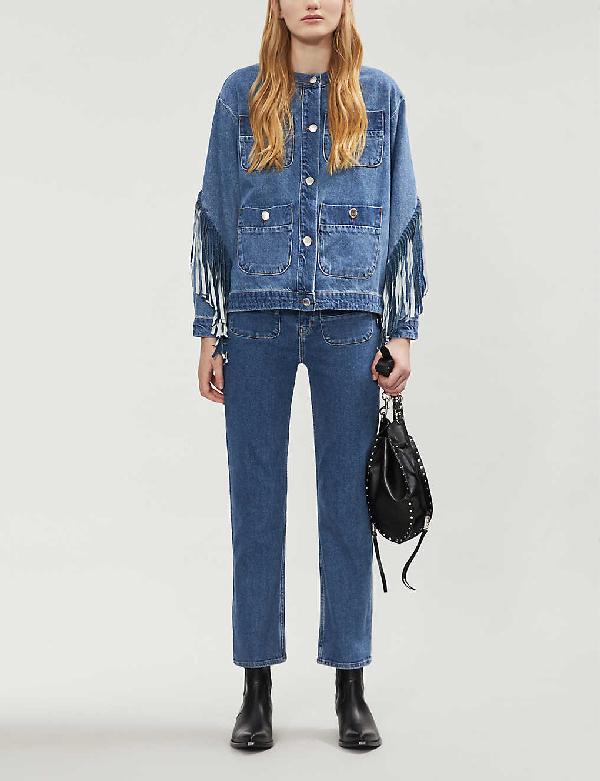 Maje Bonheur Fringed Denim Jacket In Blue