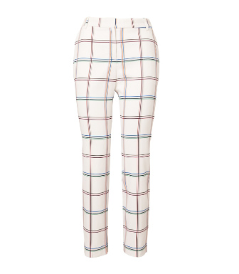 Tory Sport Printed Tech Twill Golf Pants In Snow White Fine Plaid
