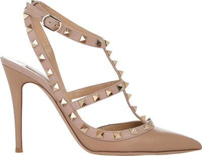 Valentino Rockstud Leather Slingbacks T.100 In Powder In Camel