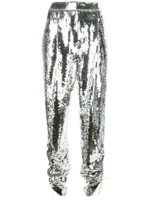 Tibi Avril Sequin Front Trousers In Ivory/silver Multi