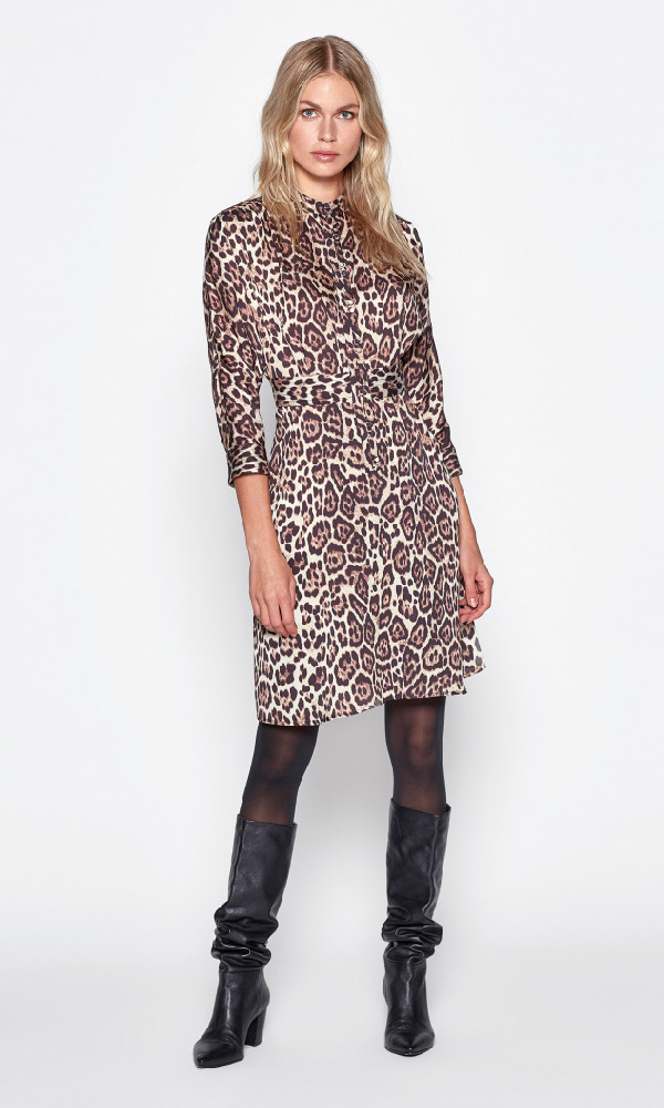 Equipment Adalicia Long Sleeve Front Button Dress In True Black Multi