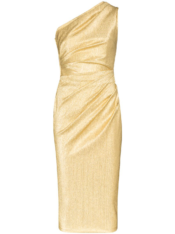 Dolce & Gabbana One-shoulder Ruched Silk-blend Lurex Midi Dress In Gold