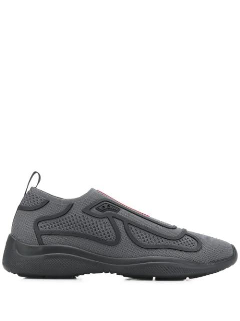 Prada Americas Cup Slip-on Sneakers In Grey