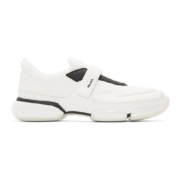 Prada 'cloudbust' Textile Hook-and-loop Strap Panelled Neoprene Sneakers In F0009 White