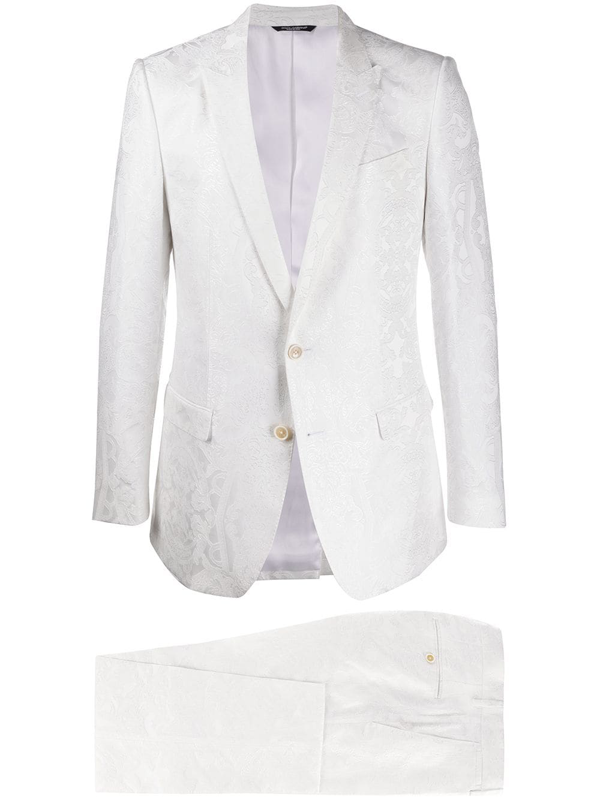 Dolce & Gabbana Jacquard Effect Tailored Suit In White