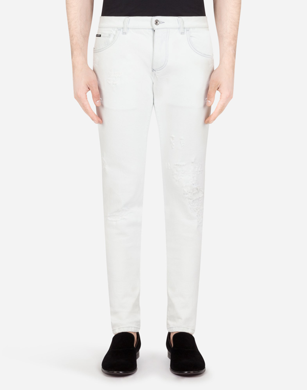 Dolce & Gabbana White Stretch Skinny Jeans In Blue
