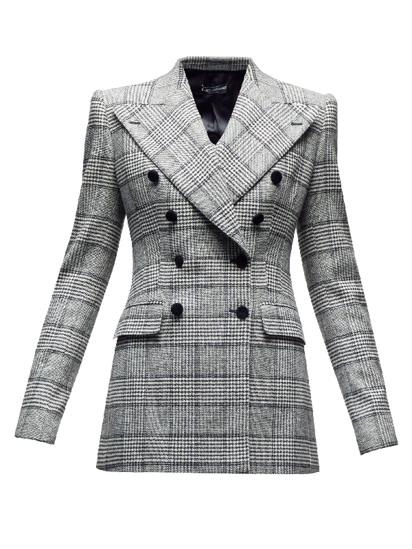 Dolce & Gabbana Double-breasted Glen-checked Twill Blazer In Grey Multi