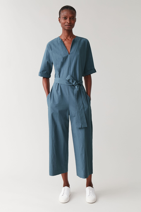 Cos Belted Jumpsuit With V-neck In Blue