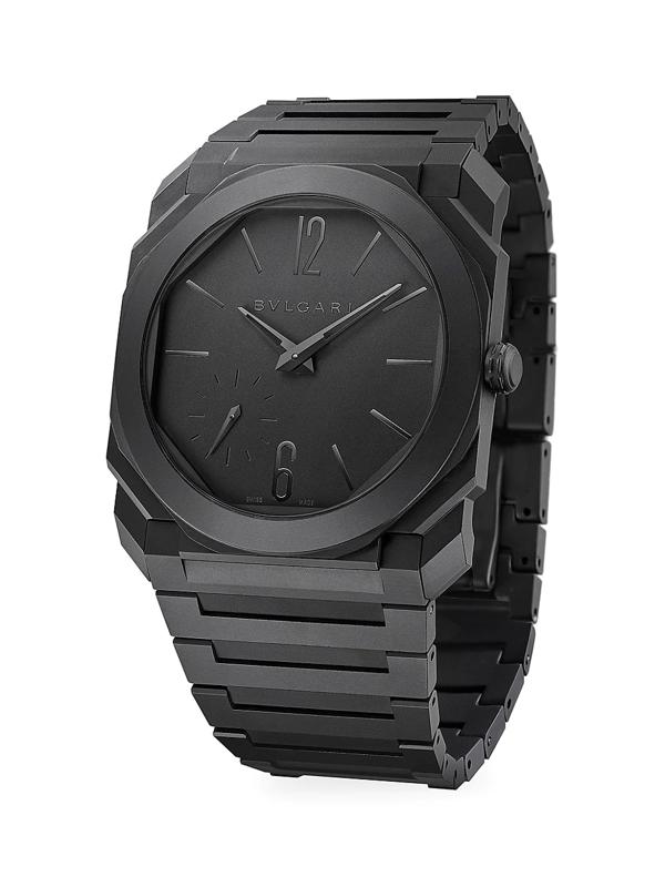 Bvlgari Octo Finissimo Extra-thin Sandblasted Ceramic Bracelet Watch In Black