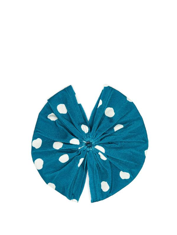 Adriana Degreas Aloe Pois Gathered Polka-dot Turban Headband In Blue