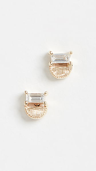 Jennie Kwon Designs 14k Baguette Half Moon Studs In Yellow Gold