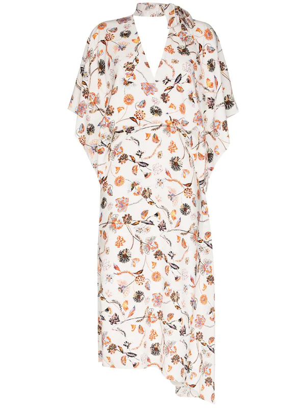 Roland Mouret Meyers Painterly Floral Asymmetric Mockneck Dress In White