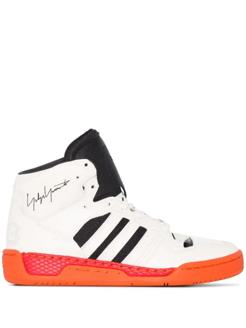 Y-3 Hayworth 3-stripe High Top Sneakers In White