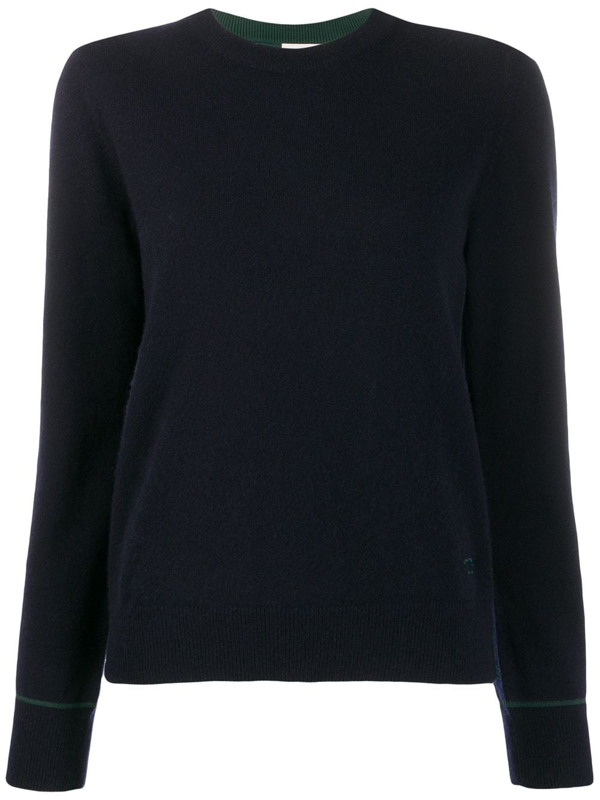 Tory Burch Contrast-stitching Cashmere Pullover In Blue