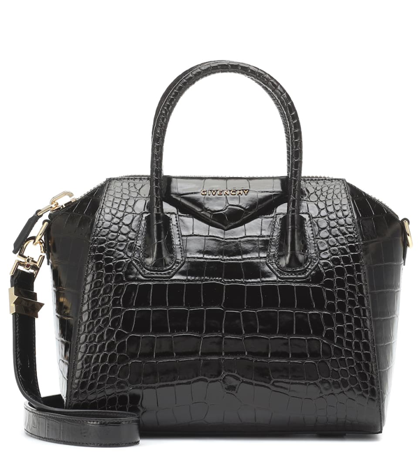 Givenchy Small Antigona Croc Embossed Calfskin Satchel In Black
