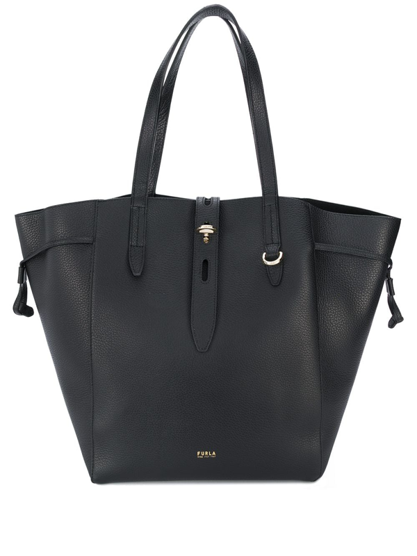 Furla Net Pebbled Tote Bag In Black