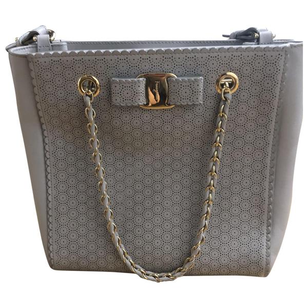 Pre-owned Salvatore Ferragamo Grey Leather Handbag