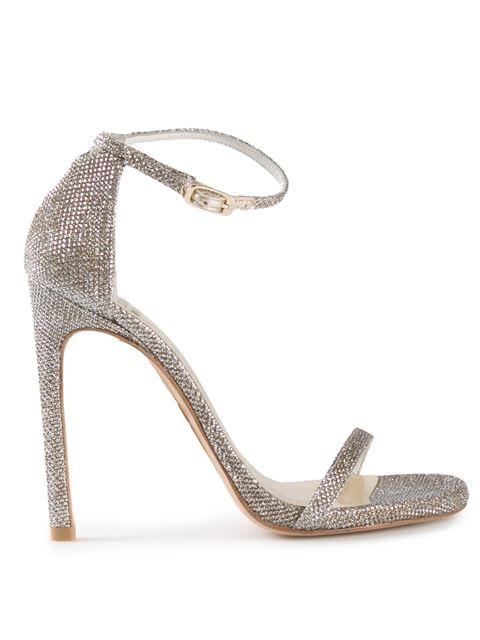 Stuart Weitzman Nudist Song Glitter Sandals - Metallic