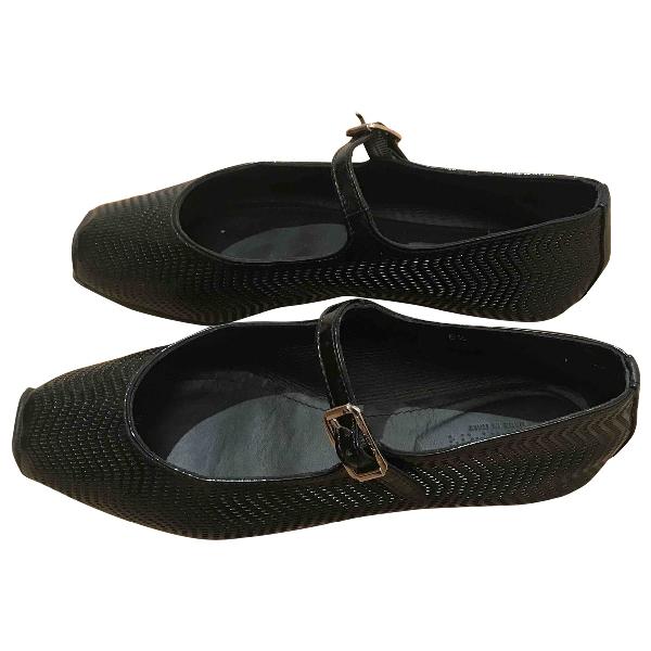 Hogan Black Leather Ballet Flats