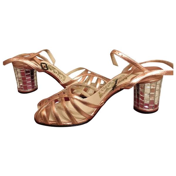Salvatore Ferragamo Gold Leather Sandals