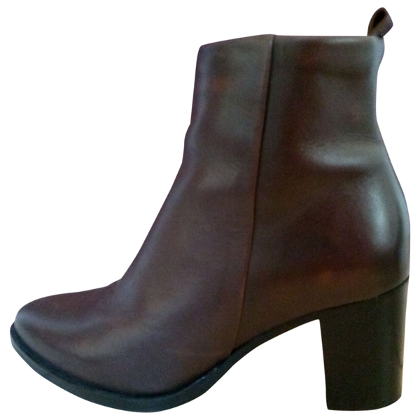 Pre-owned Royal Republiq Brown Leather Ankle Boots