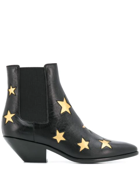 Saint Laurent Star Embossed Ankle Boots In Black
