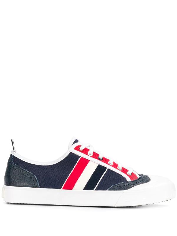 Thom Browne Canvas-sneakers Mit Rwb-streifen In 960 Rwbwht