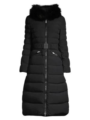 Post Card Urban Mana Fur-trim Puffer Coat In Black