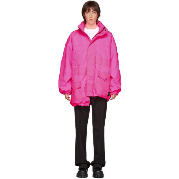 Balenciaga Asymmetrical Pulled Nylon Parka In 5903 Pink