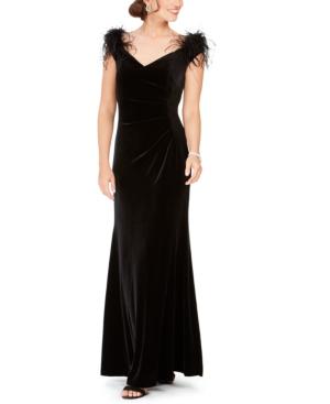 Eliza J Off-the-shoulder Velvet Faux-feather Detail Gown In Black