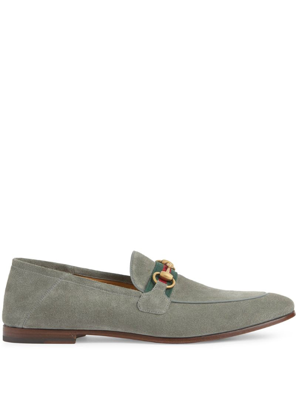 Gucci Brixton Webbing-trimmed Horsebit Collapsible-heel Suede Loafers In Grey
