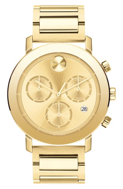 Movado Bold Evolution Chronograph Stainless Steel Watch In Gold