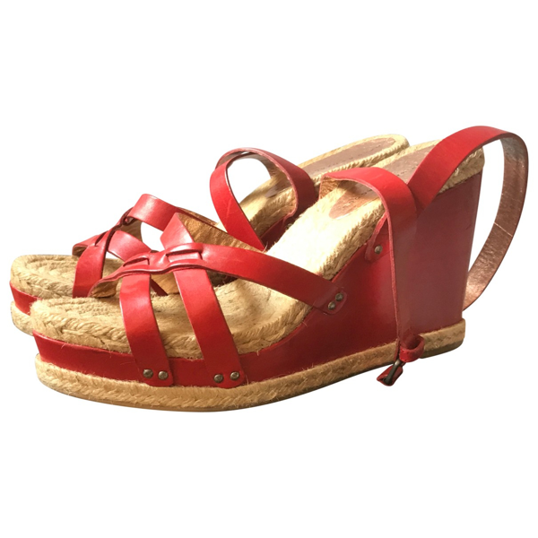 Pre-owned Marc By Marc Jacobs Red Leather Espadrilles