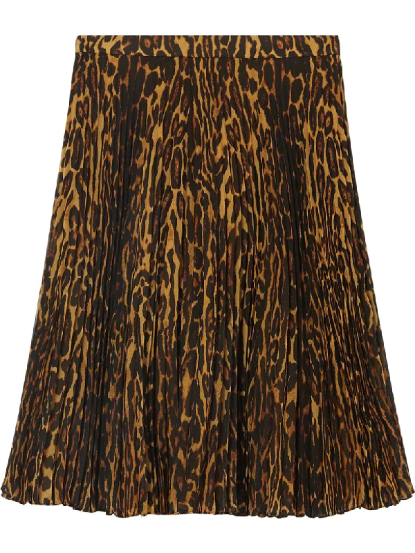Burberry Pleated Midi Skirt With Leopard Print Motif In Brown