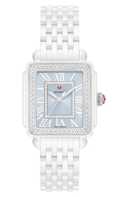 Michele Deco Madison Mid Diamond Watch Head & Ceramic Bracelet, 16mm In White/ Blue/ Silver