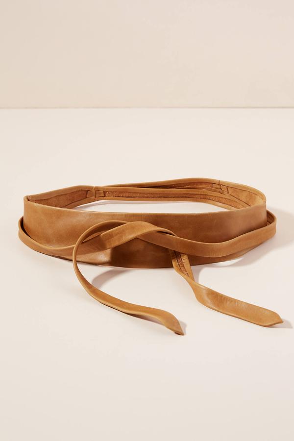 Ada Skinny Leather Wrap Belt In Tan
