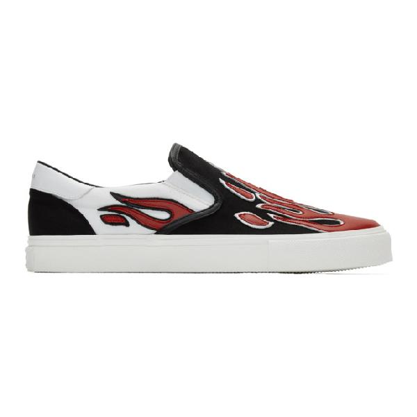 Amiri Skel Toe Leather-appliquÉd Canvas Slip-on Sneakers In Bwr