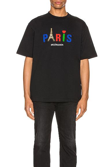 Balenciaga Paris Logo Embroidery Cotton T-shirt In 1000 Black
