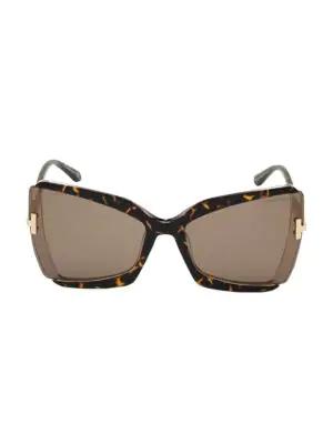 Tom Ford Gia Semi-Rimless Butterfly Sunglasses In Havana