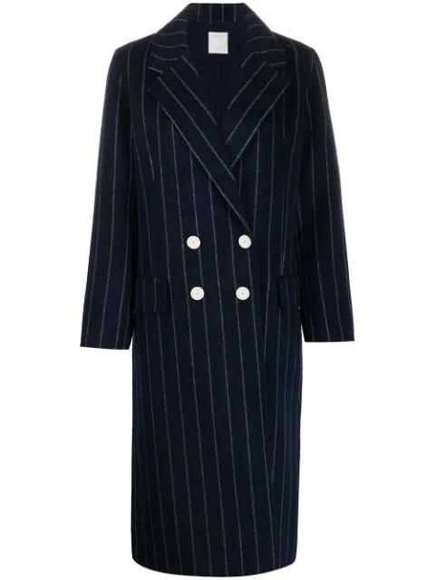 Sandro Thiny Wool-blend Pinstripe Coat In Navy