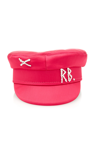 Ruslan Baginskiy Hats Crystal Satin Baker Boy Cap In Pink