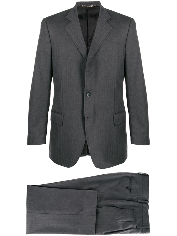 Pre-owned Dolce & Gabbana 1990s Herringbone Two-piece Suit In Grey